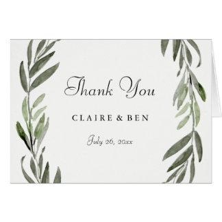 Modern Watercolor Green Leaf Wedding Thank You Card
