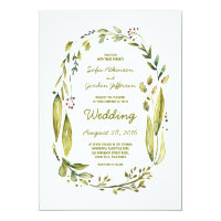 Modern Watercolor Greenery Laurel Wedding Card