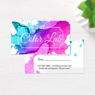 Modern Watercolor Hair Salon Appointment #3 Business Card