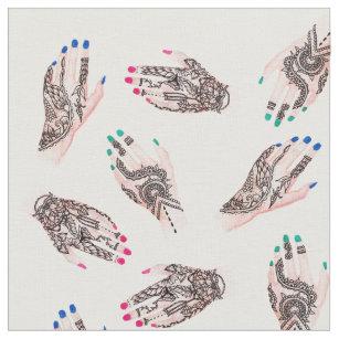f86a122f26297 Modern watercolor henna tattooed hands pattern fabric
