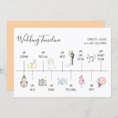 Modern watercolor illustrations wedding timeline invitation