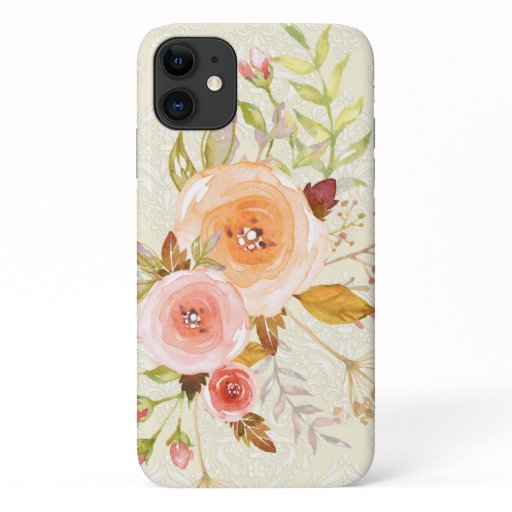 Modern Watercolor Ivory n Pink Floral Rose Foliage iPhone 11 Case