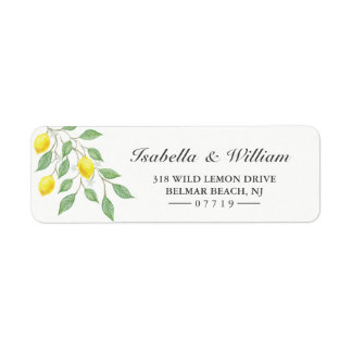 Modern Watercolor Lemon Summer Wedding Address Label