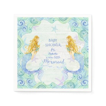 Beach Themed Modern Watercolor Mermaid Baby Shower Waves Wood Paper Napkin