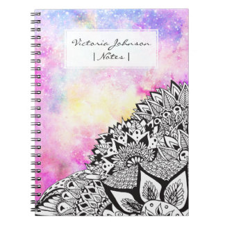Modern watercolor nebula white floral illustration notebook
