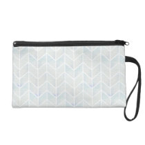 Modern watercolor pastel mint chevron pattern wristlet