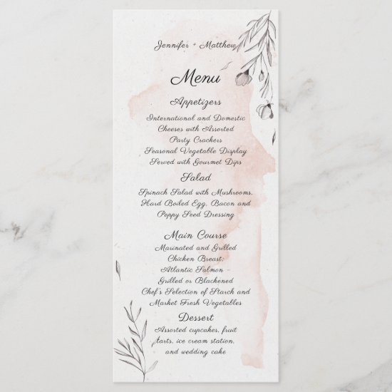 Modern Watercolor Peach and Gray Floral Menu