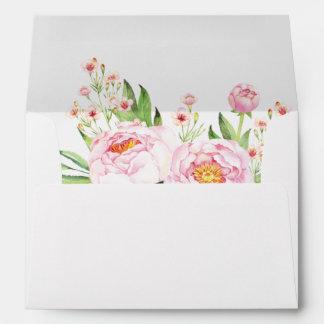 Modern Watercolor Peonies Matching Envelopes