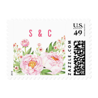 Modern Watercolor Peonies Postage Stamps