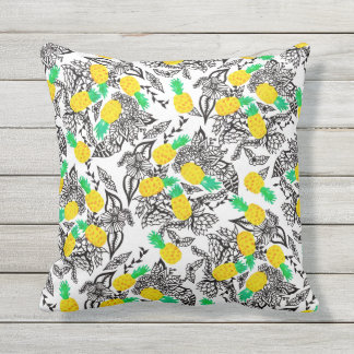 Modern watercolor pineapples floral pattern throw pillow