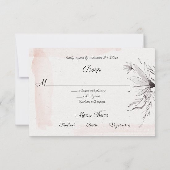 Modern Watercolor Pink and Gray Floral Menu RSVP