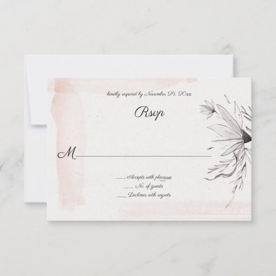 Modern Watercolor Pink and Gray Floral RSVP