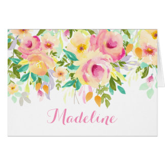 Modern Watercolor, Pink and Green Thank You Note