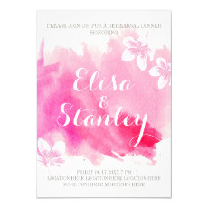 Modern watercolor pink blossoms rehearsal dinner 5x7 paper invitation card