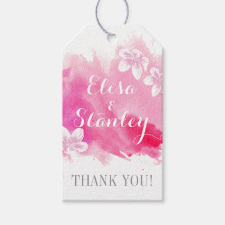 Modern watercolor pink blossoms wedding Thank You Gift Tags