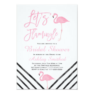 Modern watercolor pink flamingo bridal shower card