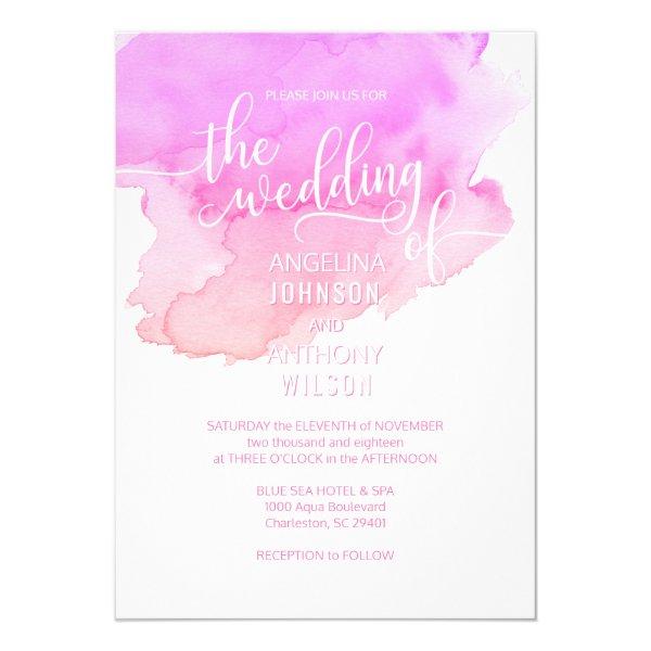 Modern Watercolor Pink White Wedding Invitations