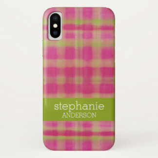 Modern Watercolor Plaid Pattern Baby Shower iPhone X Case