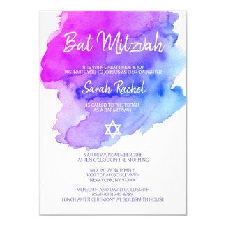 Modern Watercolor Purple Blue Star BAT MITZVAH Card