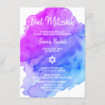 """Modern Watercolor Purple Blue Star BAT MITZVAH Invitation<br><div class=""""desc"""">Beautiful religious Jewish Bat Mitzvah invitation cards.  Light watercolor pastel purple,  violet,  blue,  turquoise with star of David in white.  Modern script letters. 'Is called to the TORAH as a Bar Mitzvah'. Perfect for 12 year old daughter,  girl. Easy to edit - just add your information / text.</div>"""