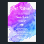 "Modern Watercolor Purple Blue Star BAT MITZVAH Invitation<br><div class=""desc"">Beautiful religious Jewish Bat Mitzvah invitation cards.  Light watercolor pastel purple,  violet,  blue,  turquoise with star of David in white.  Modern script letters. &#39;Is called to the TORAH as a Bar Mitzvah&#39;. Perfect for 12 year old daughter,  girl. Easy to edit - just add your information / text.</div>"