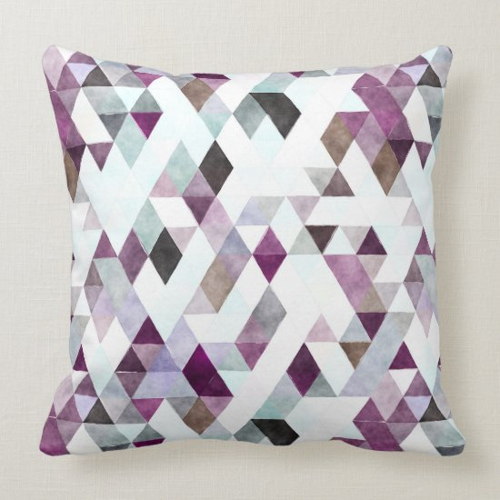 Modern Watercolor Purple Gray Triangle Pattern Throw Pillow