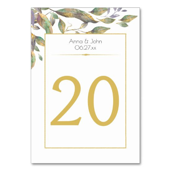 Modern Watercolor Purple Green Gold Leaves 2 | Table Number
