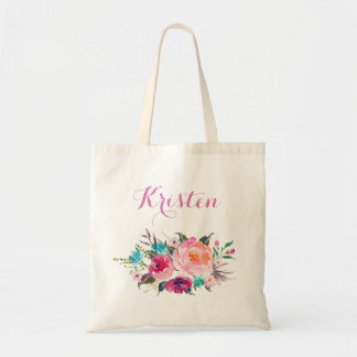 Modern Watercolor Purple Pink Floral Bridesmaid Tote Bag