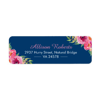 Modern Watercolor Purple Red Pink Floral Navy Blue Label