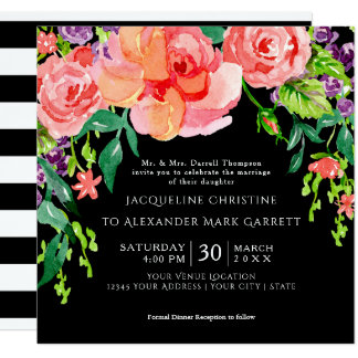 Modern Watercolor Rose Floral Wedding Black Ground Card