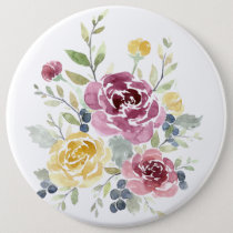 Modern Watercolor Rose - Large Floral Button