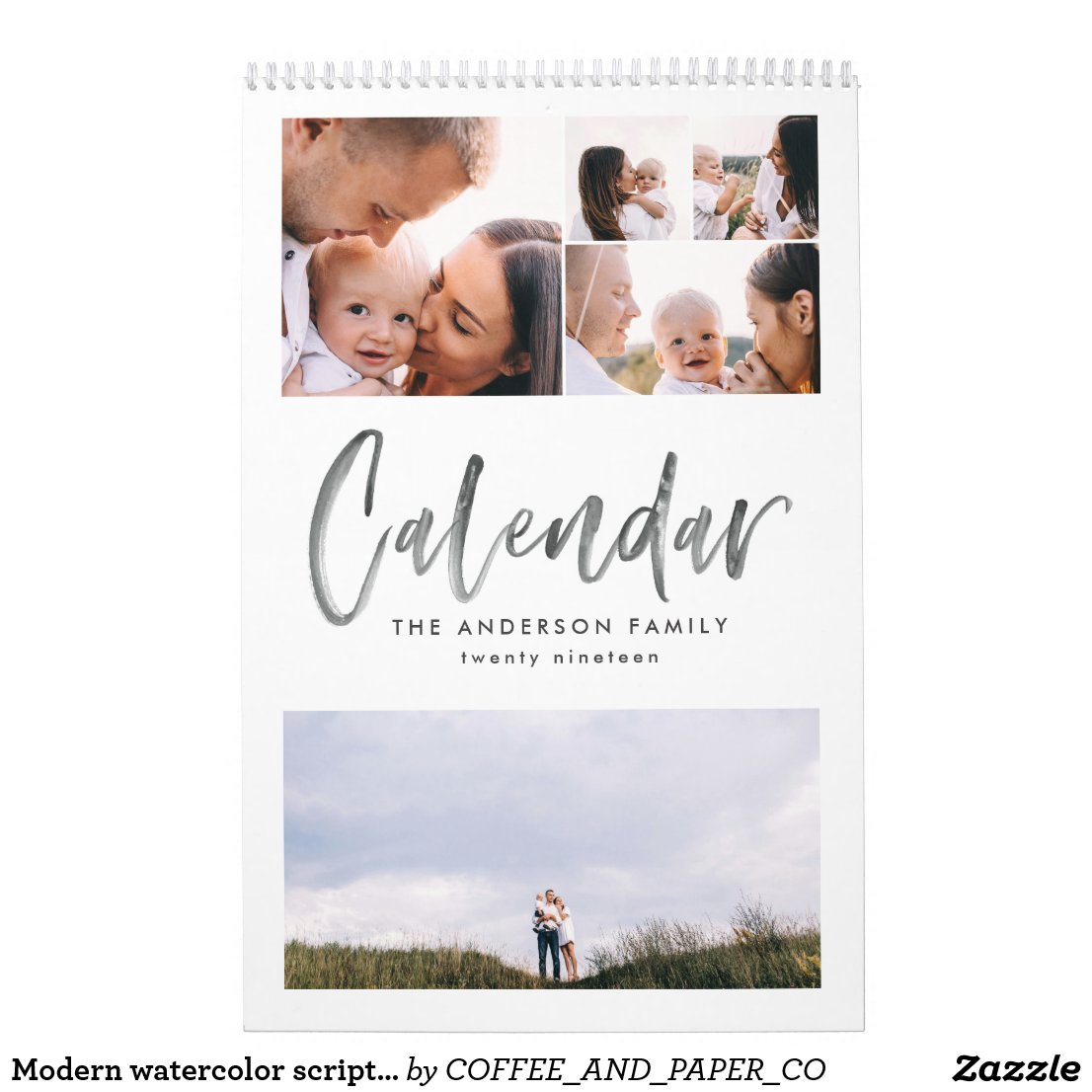 Modern watercolor script multi photo calendar