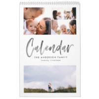 Modern watercolor script multi photo calendar