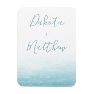 Modern Watercolor Seaside Aqua Tides Wedding Magnet