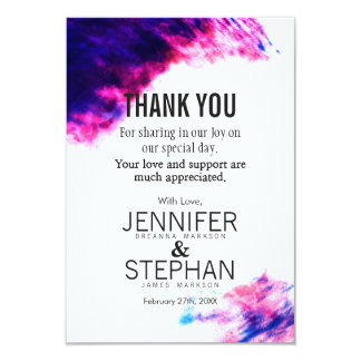 Modern Watercolor Smudges Thank You Cards