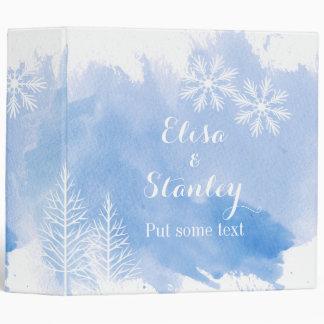 Modern watercolor splash blue wedding planner binder