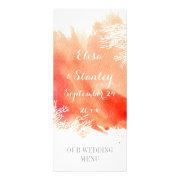 Modern watercolor splash coral reef wedding menu full color rack card