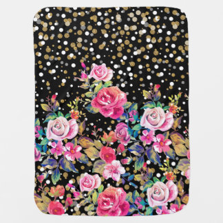 Modern watercolor spring floral and gold dots baby blanket