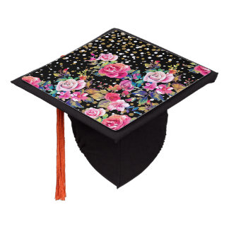 Modern watercolor spring floral and gold dots graduation cap topper