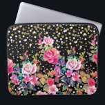 "Modern watercolor spring floral and gold dots laptop sleeve<br><div class=""desc"">Modern watercolor spring floral and gold dots pattern. This elegant, girly, boho chic, vibrant colorful blossom garden spring flowers, faux gold glitter, grey and white confetti dots, dropping shower shining dots, on a black background, is perfect for everyday wear, special occasions, or celebrations. A collection of roses, leaves, dots, in...</div>"