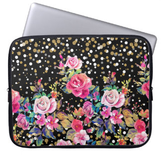 Modern watercolor spring floral and gold dots laptop sleeve