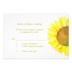 Modern Watercolor Sunflower Wedding Reply (3.5x5) Invitation