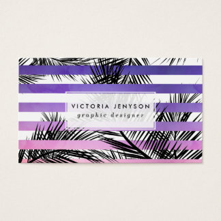 Modern watercolor sunset ombre tropical palm tree business card