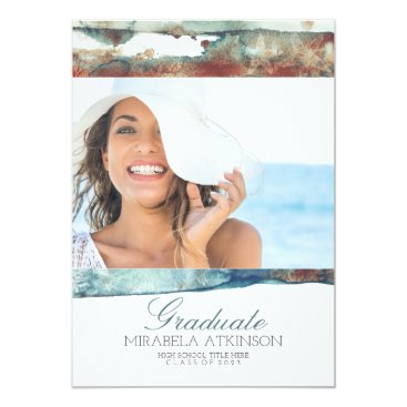 Beach Themed Modern Watercolor Swash Graduation Party Card