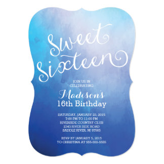 Modern Watercolor Sweet Sixteen Birthday Party Card