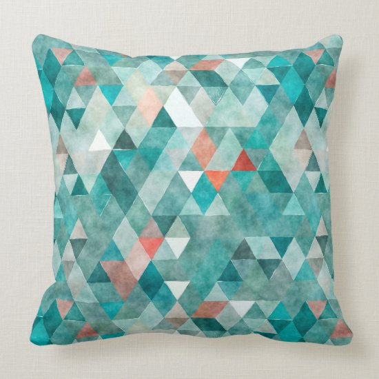 Modern Watercolor Teal Coral Triangle Pattern Throw Pillow