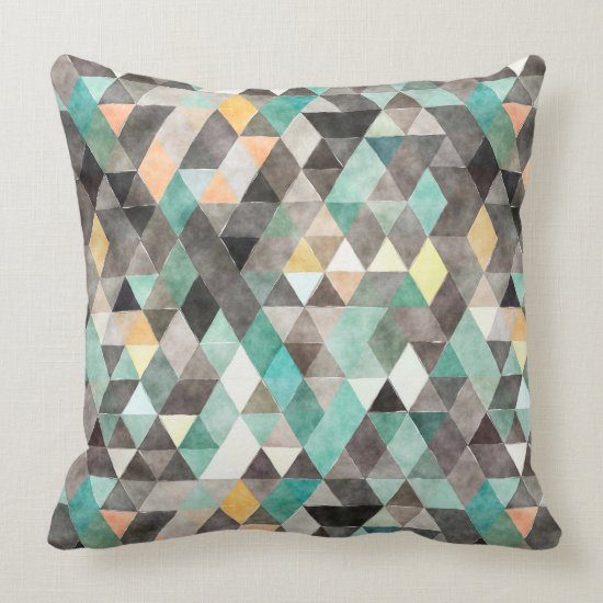 Modern Watercolor Teal Gray Gold Triangle Pattern Throw Pillow