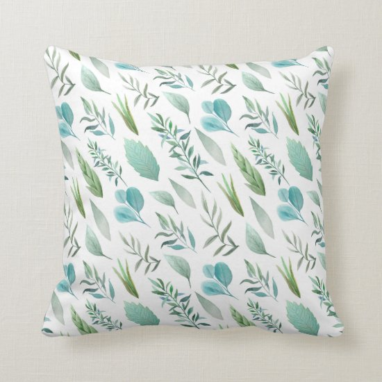 Modern Watercolor Teal Green Teal Blue Leaves Throw Pillow