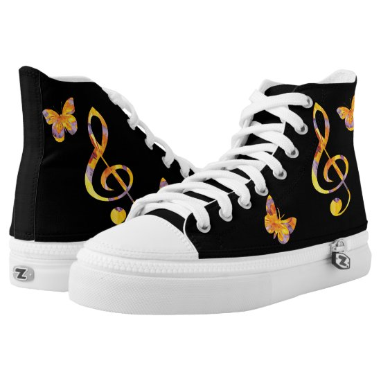 Modern watercolor treble clef and butterflies High-Top sneakers