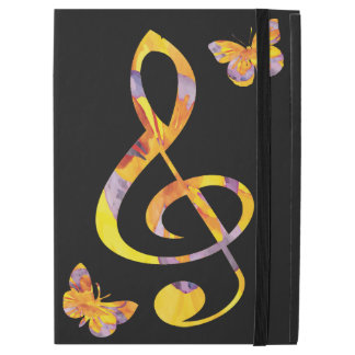 Modern watercolor treble clef and butterflies iPad pro case